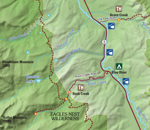 Shaded Relief Data showing Trailheads and fishing access