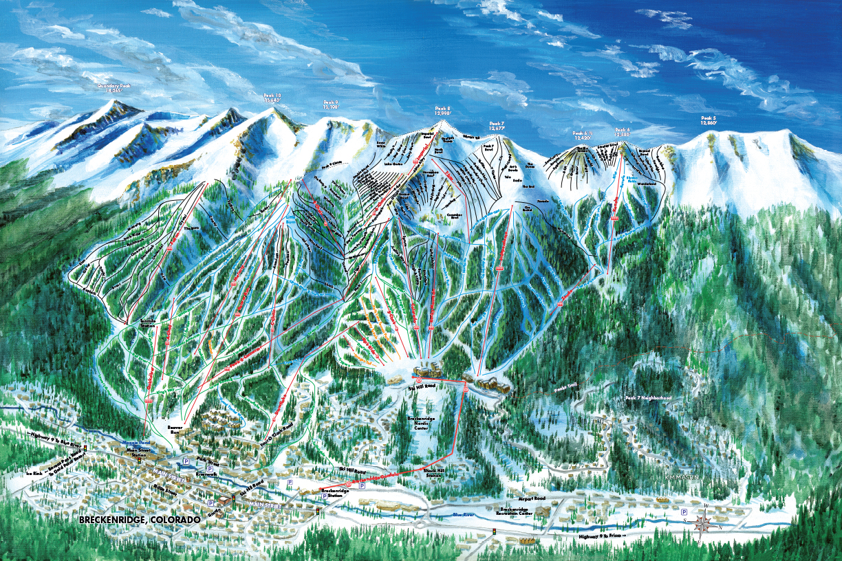 Skiing Colorado Map.Ski Trail Map Artist Kevin Mastin