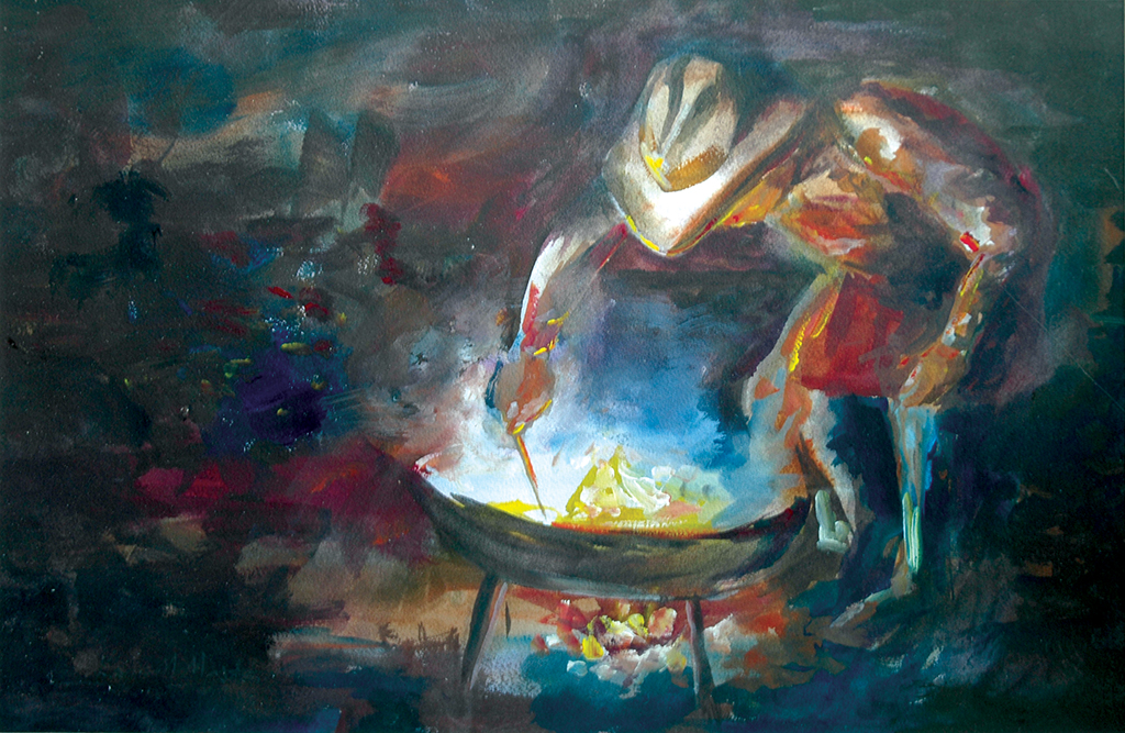 Stirrin' the Pot Watercolor Painting by Kevin Mastin