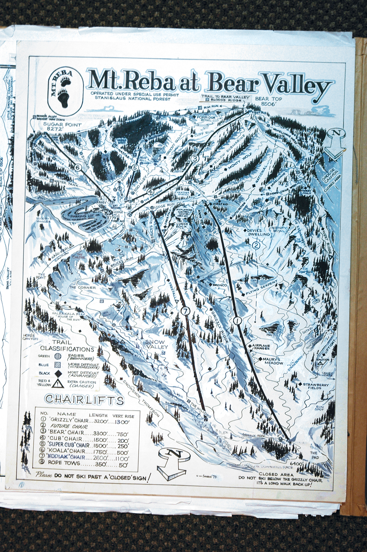 Mount Reba Ski Trail Map by Bob Shedd