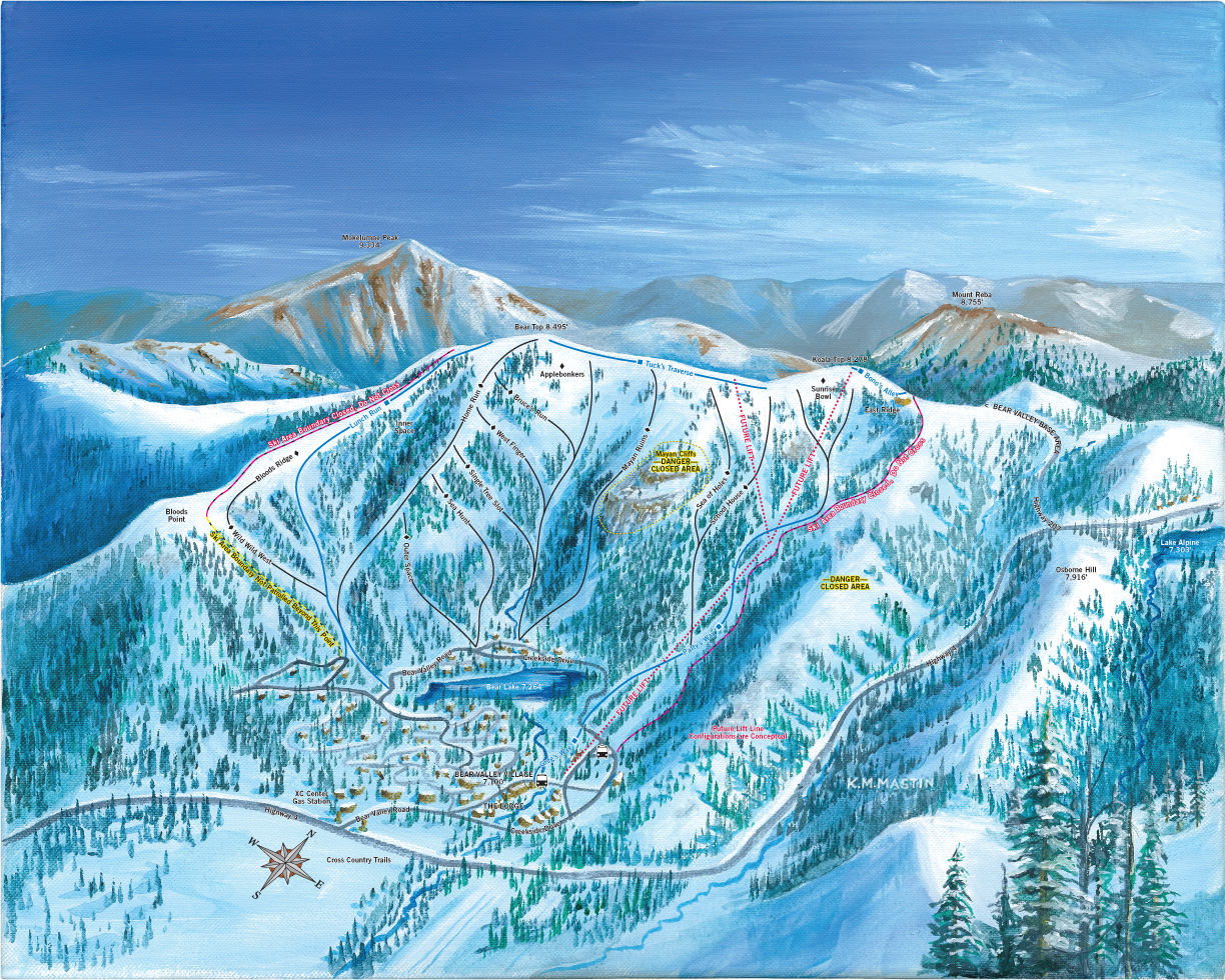 Bear Valley Village Bowl Ski Trail Map