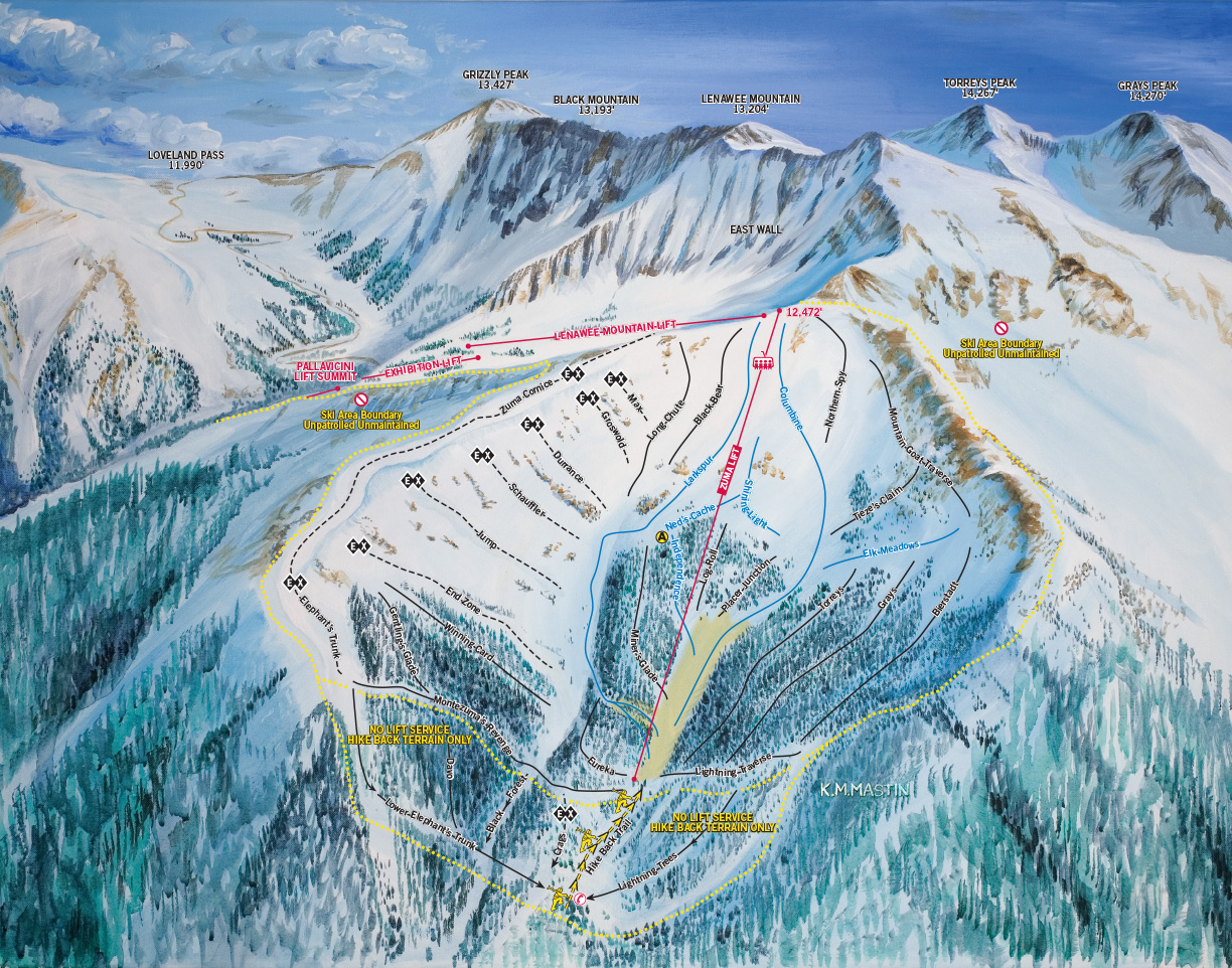 Montezuma Bowl Ski Trail Map