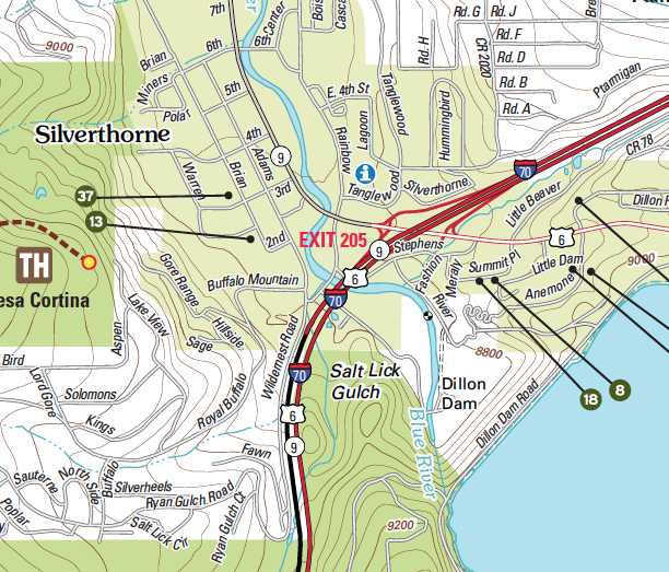 Street map of Silverthorne Colorado with Topographic underlays