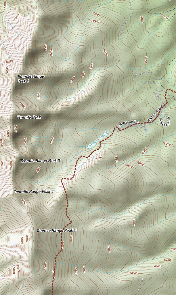 Topographic with shaded-relief Tenmile Range