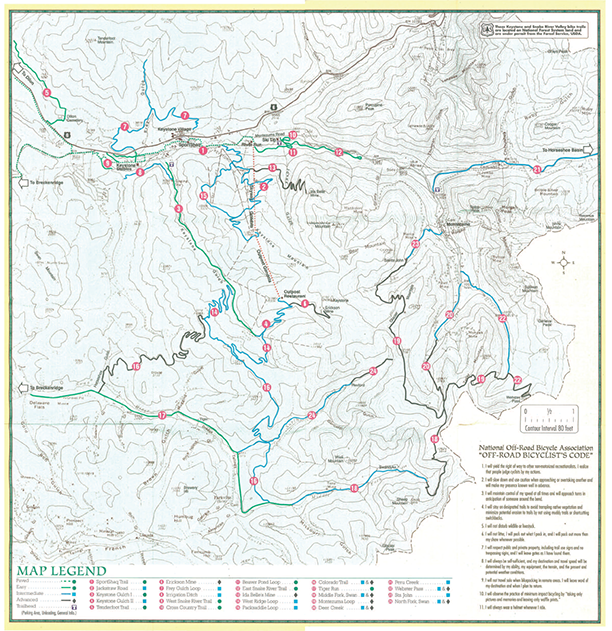 Keystone Bike Trail Map Topo 1994