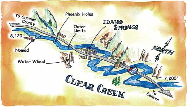 Rafting Maps Clear Creek, Idaho Springs, Colorado