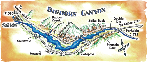 Rafting Maps Bighorn Canyon, Arkansas River, Colorado