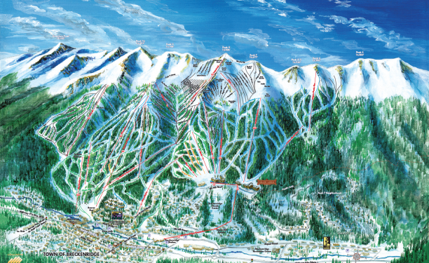 Breckenridge Ski Trail Map Illustration by Kevin Mastin