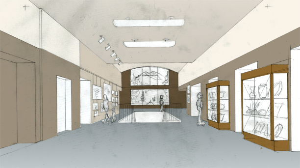 SCAEC Summit County Commons Lobby Sketch with Color Illustration by Kevin Mastin