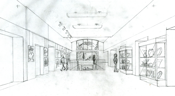 SCAEC Summit County Commons Lobby Sketch with Detail Illustration by Kevin Mastin