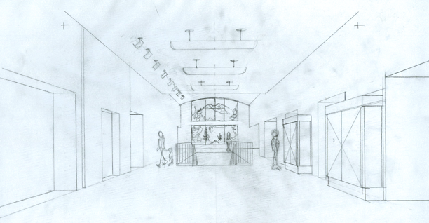 SCAEC Summit County Commons Lobby Sketch Illustration by Kevin Mastin