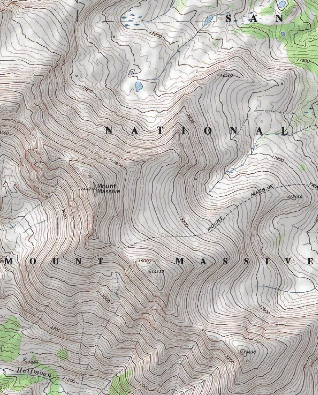 Mount Massive Topo Map Swatch