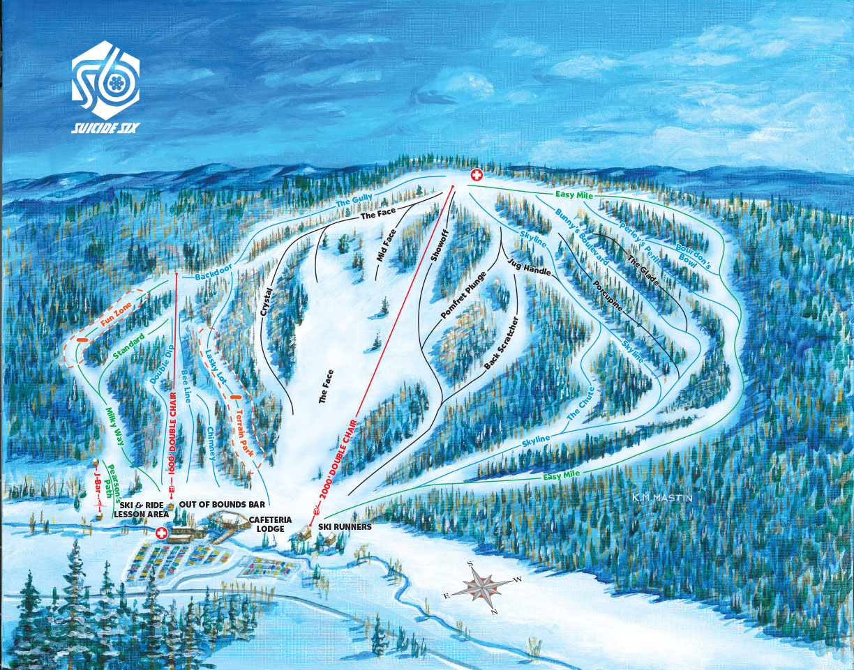 Suicide 6 Vermont Ski Trail Map